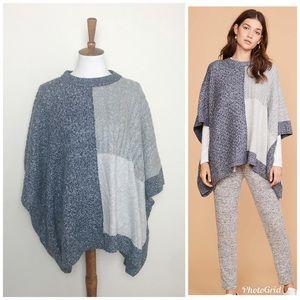 LOU & GREY Patchwork Poncho Sweater! M/L